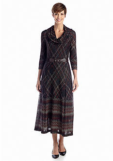 Robbie Bee Cowl-neck Printed Belted Boot Length Dress