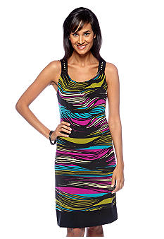 Robbie Bee Petite Sleeveless Striped Shift Dress