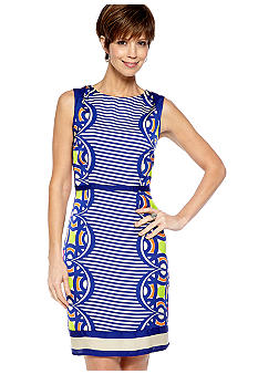 Robbie Bee Petite Sleeveless Printed Sheath Dress