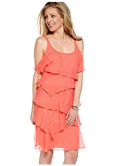 Robbie Bee Petite Braided Strap Tiered Chiffon Dress