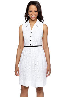 Robbie Bee Petite Sleeveless Eyelet Belted Shirt Dress
