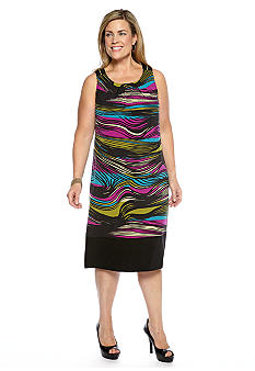 Robbie Bee Plus Size Sleeveless Striped Shift Dress