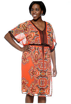Robbie Bee Plus Size Dolman Sleeve Printed Dress
