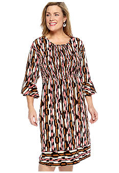 Robbie Bee Plus Size Printed Smock Dress