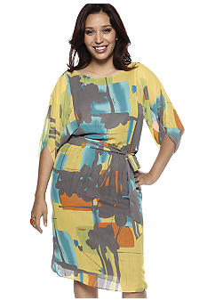 Robbie Bee Plus Size Printed Blouson Dress