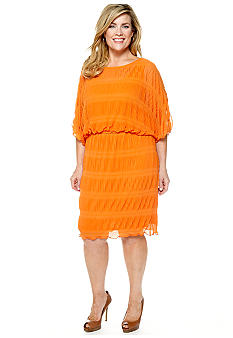 Robbie Bee Plus Size Three-Quarter Sleeved Blouson Dress