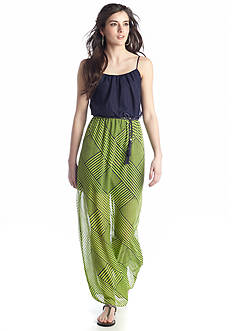 City Triangles Weave Printed Blouson Maxi Dress