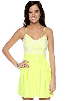 City Triangles Neon Lace Open Back Dress