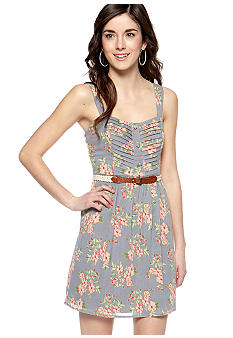 City Triangles Sleeveless Printed Belted Dress