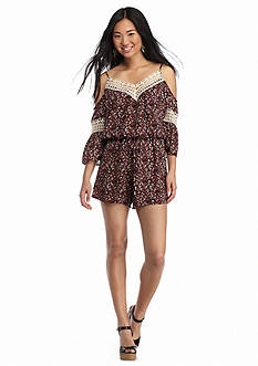 City Triangles Off The Shoulder Printed Romper
