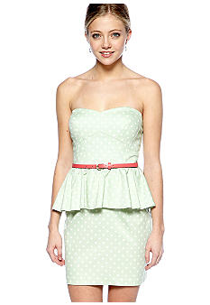 City Triangles Strapless Peplum Dress with Belt