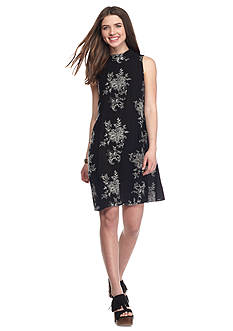 City Triangles Mock Neck Swing Floral Embroidered Dress