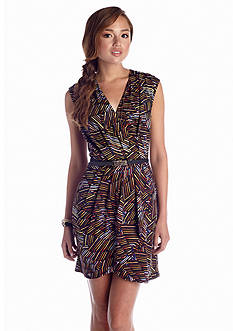City Triangles Printed Wrap Dress