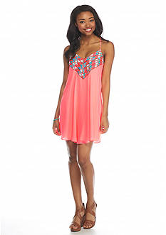 City Triangles Neon Embroidered Slip Dress