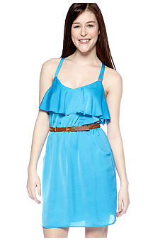 City Triangles Triple Strap Ruffle Moonshadow Dress