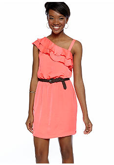 City Triangles One Shoulder Ruffle Moonshadow Dress
