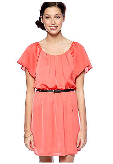 City Triangles Flutter Sleeve Dress with Belt