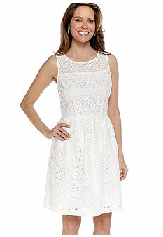 Donna Ricco New York Sleeveless Allover Lace Fit and Flare Dress