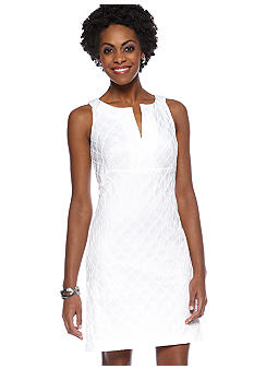 Donna Ricco New York Sleeveless Jacquard Slit Neckline Dress