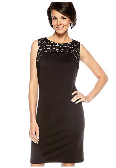 Donna Ricco New York Sleeveless Ponte Sheath Dress