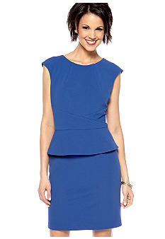 Cap-Sleeved peplum Sheath Dress