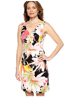 Donna Ricco New York Sleeveless Crossover V-Neck Sheath Dress