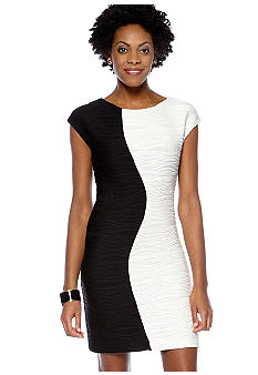 Donna Ricco New York Cap-Sleeved Colorblock Sheath Dress