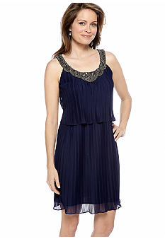 Donna Ricco New York Sleeveless Pleated Dress with Antique Beaded Necklace