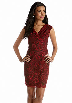 Donna Ricco New York Cap-Sleeved Allover Lace Sheath Dress