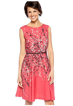 Donna Ricco New York Cap Sleeved Printed Dress