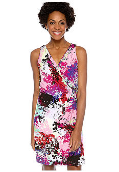Donna Ricco New York Sleeveless Crossover V-Neck Printed Dress