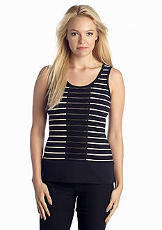 TWO by Vince Camuto Stripe Center Fold Mesh Tank