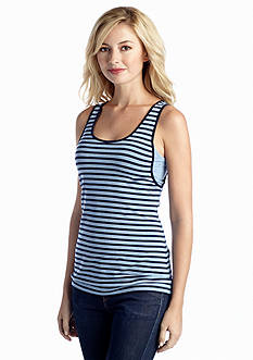 TWO by Vince Camuto Striped Scoop Neck Tank