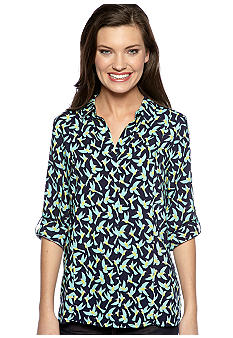 TWO by Vince Camuto Bird Print Button Down Top with Roll Tab Sleeves