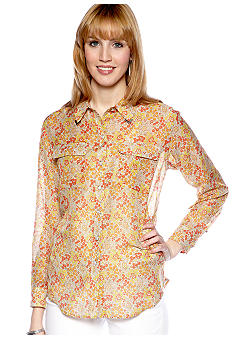 TWO by Vince Camuto Western Button Down Blouse