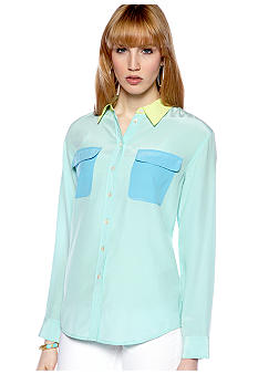 TWO by Vince Camuto Color Block Utility Shirt