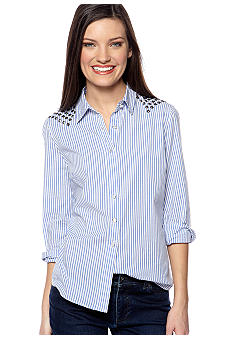 TWO by Vince Camuto Blue Stripe Western Top with Pyramid Studs