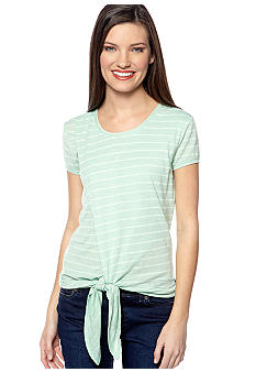 TWO by Vince Camuto Stripe Tee with Tie Front