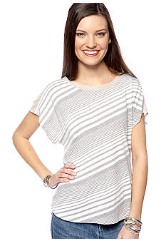 TWO by Vince Camuto Stripe Back Tie Tee with Chiffon Yoke
