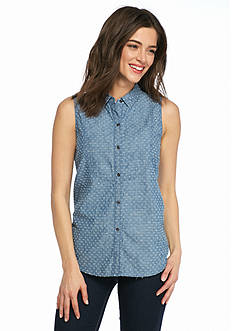 TWO by Vince Camuto Textured Chambray Utility Shirt