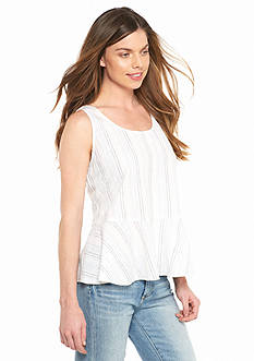 TWO by Vince Camuto Stripe Linen Peplum Tank
