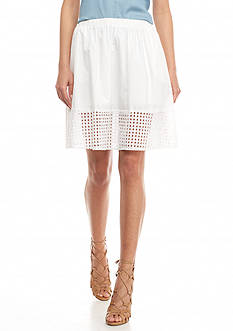 TWO by Vince Camuto Eyelet Trim Midi Skirt