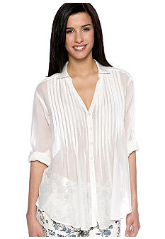 TWO by Vince Camuto Button Up Pintuck Blouse with Roll Tab Sleeves