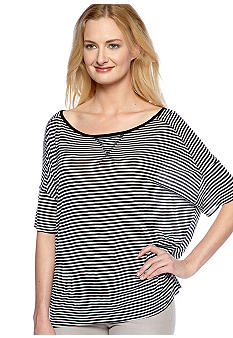 TWO by Vince Camuto Boxy Stripe Jersey Crop Tee