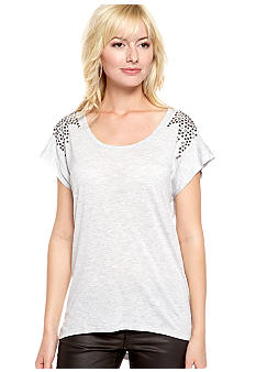TWO by Vince Camuto Short Sleeve Tee with Studded Shoulders