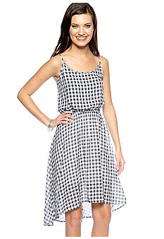 TWO by Vince Camuto Sleeveless Plaid Blouson Dress