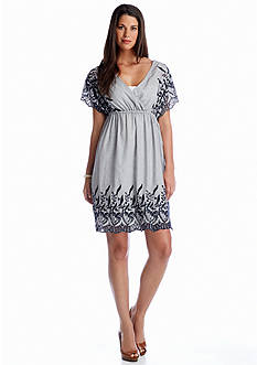 TWO by Vince Camuto Cotton Striping Embroidered Dress