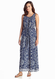 TWO by Vince Camuto Sleeveless Key Hole Java Block Maxi Dress