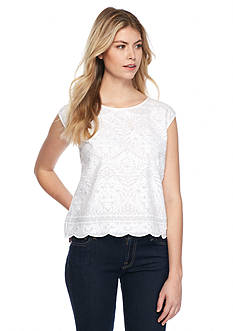 TWO by Vince Camuto Boxy Embroidered Blouse
