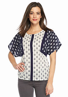 TWO by Vince Camuto Madras Print Tent Blouse